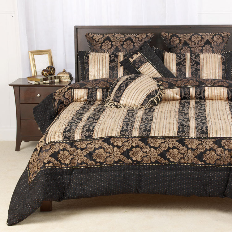 Hyde Park Elizabeth 7 Piece Comforter Set Black