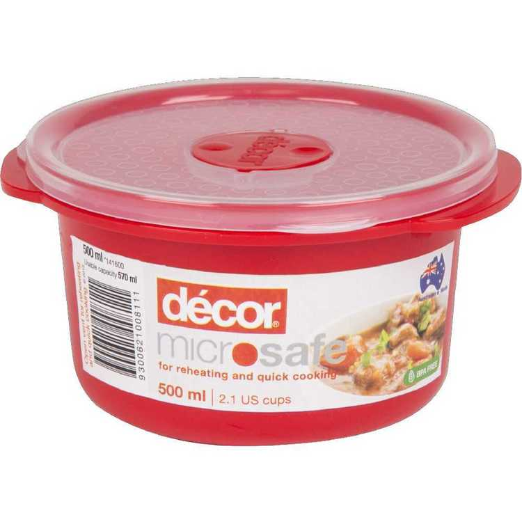 Decor Microsafe Round Container 500 mL Red 500 mL