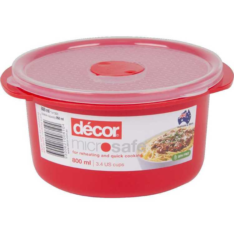 Decor Microsafe Round Container 800 mL Red 800 mL