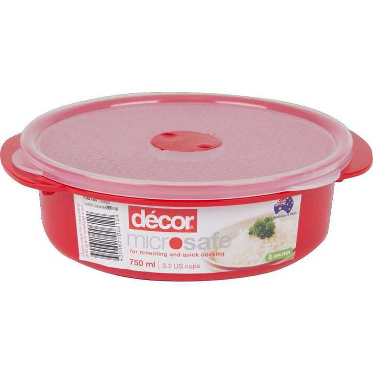 Decor Microsafe Round Container 750 mL Red 750 mL