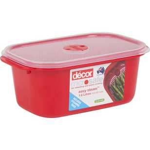 Decor Microsafe Oblong Container With Steaming Rack 1.6 L