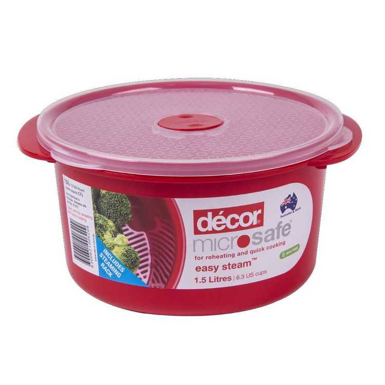 Decor Microsafe Round Container With Steaming Rack 1.5 L Red