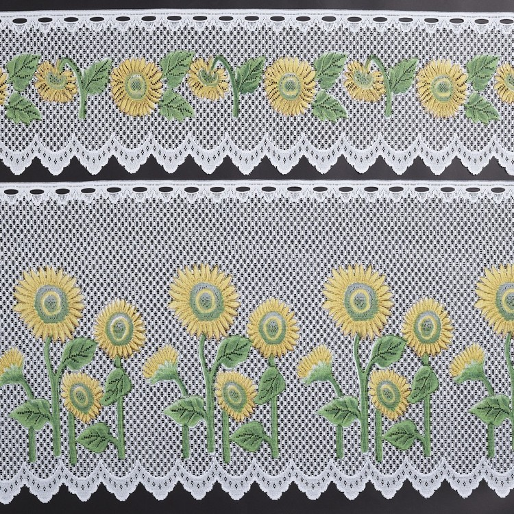 Filigree Sunflowers Cafe Continuous Sheer Fabric Multicoloured 90 cm