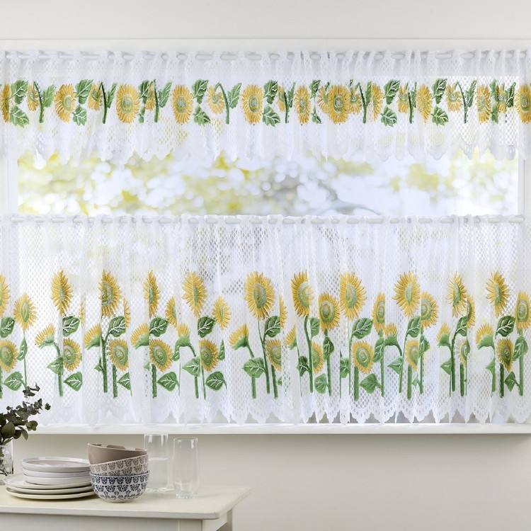 Filigree Sunflowers Cafe Continuous Sheer Fabric