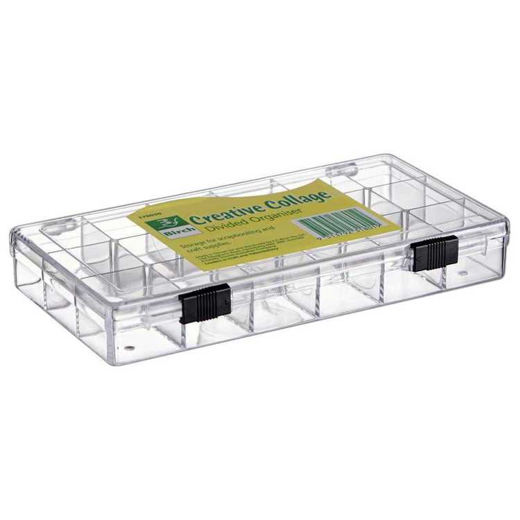 Birch 18 Compartment Storage Box Clear