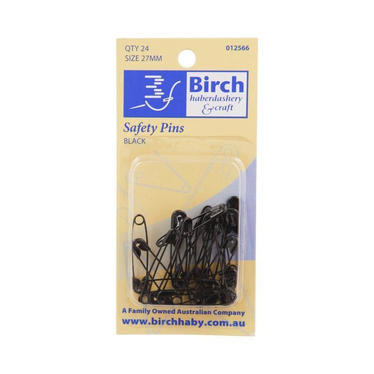 Birch Mini Black Safety Pins