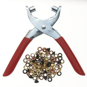 Birch Eyelet Plier & 100 Multicoloured Eyes