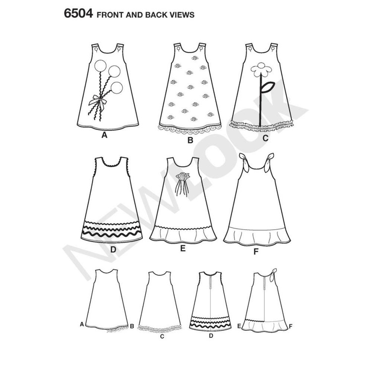New Look Pattern 6504 Girl's Dress  3 - 8