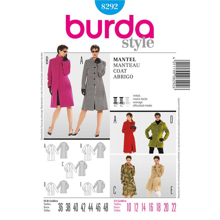 Burda Pattern 8292 Women's Coat