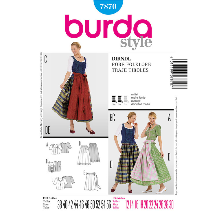 Burda 7870 Dirndl Dress Costume  12 - 28
