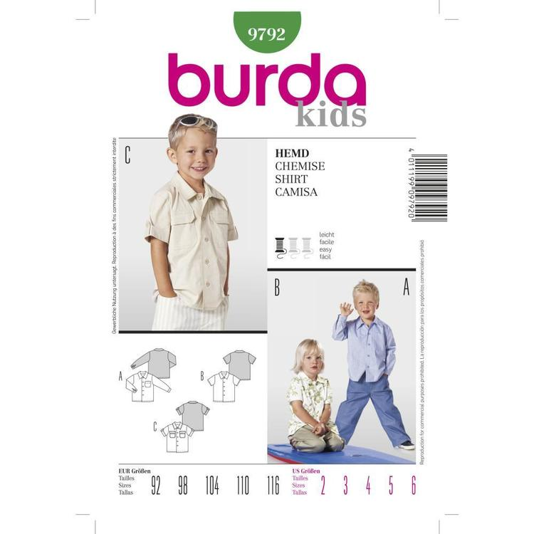 Burda Pattern 9792 Boy's Top  2 - 6