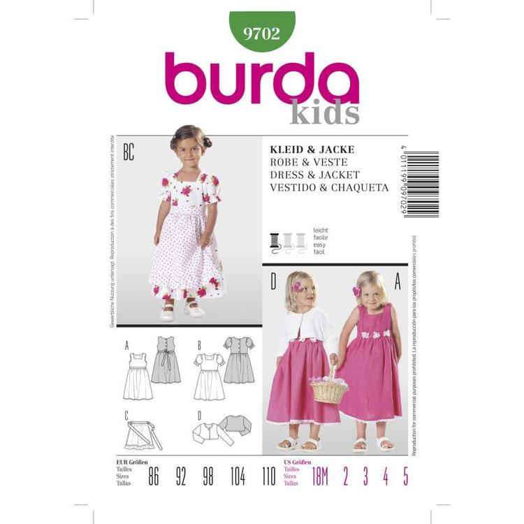 Burda Pattern 9702 Girl's Dress & Jacket