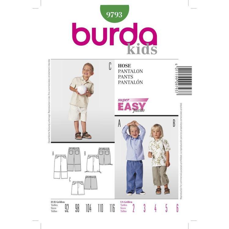 Burda Pattern 9793 Boy's Pants
