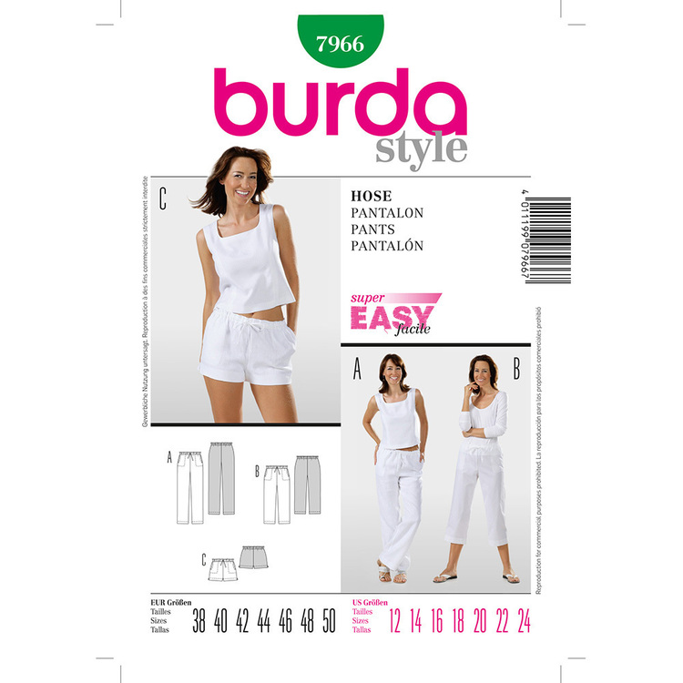 Burda Pattern 7966 Women's Pants  12 - 24