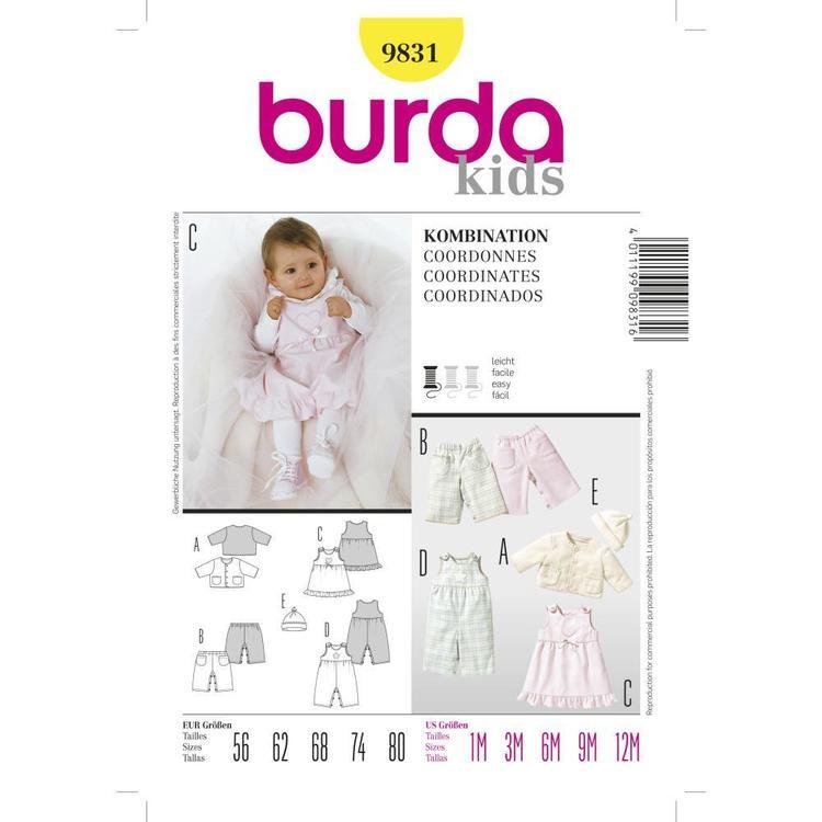 Burda Pattern 9831 Baby Coordinates