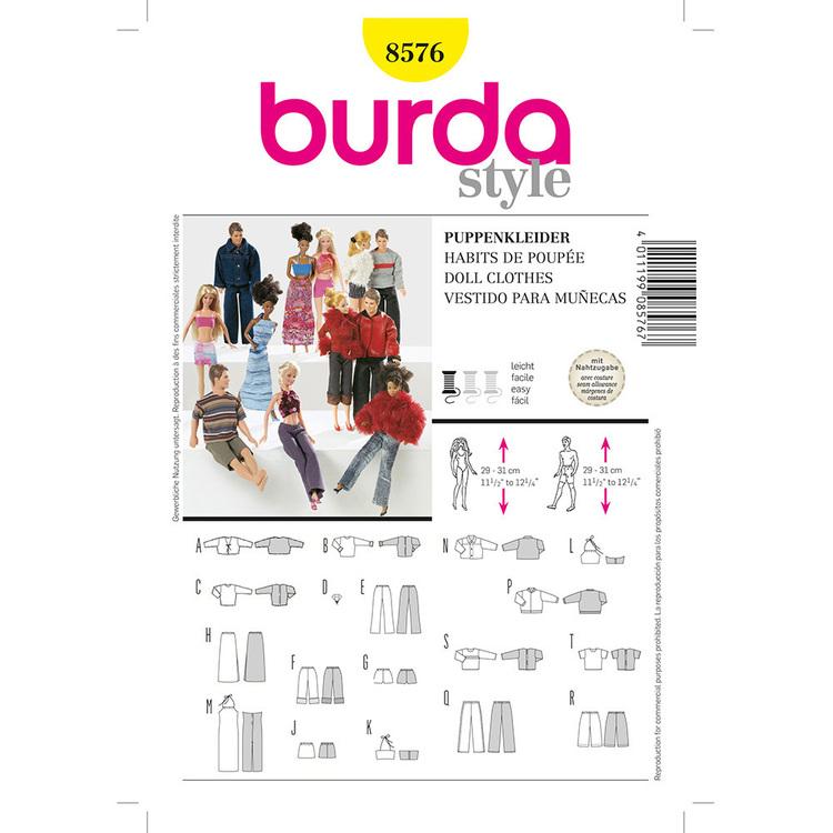 Burda Pattern 8576 Dolls Clothes