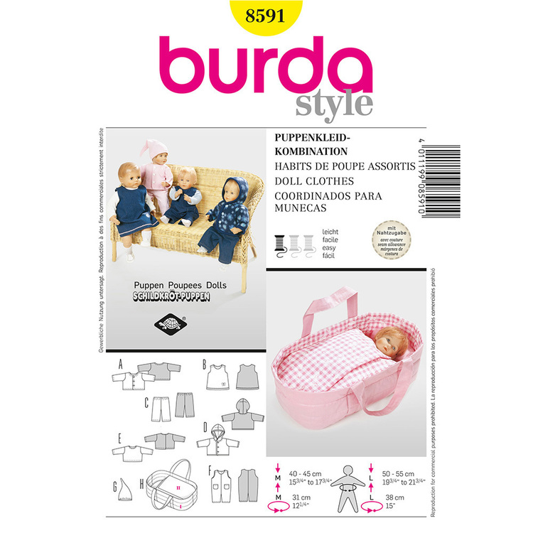 Burda Pattern 8591 Dolls Clothes All Sizes