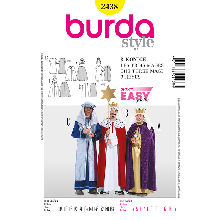 Burda 2438 Three Holy Kings Kids Costume  4 - 14