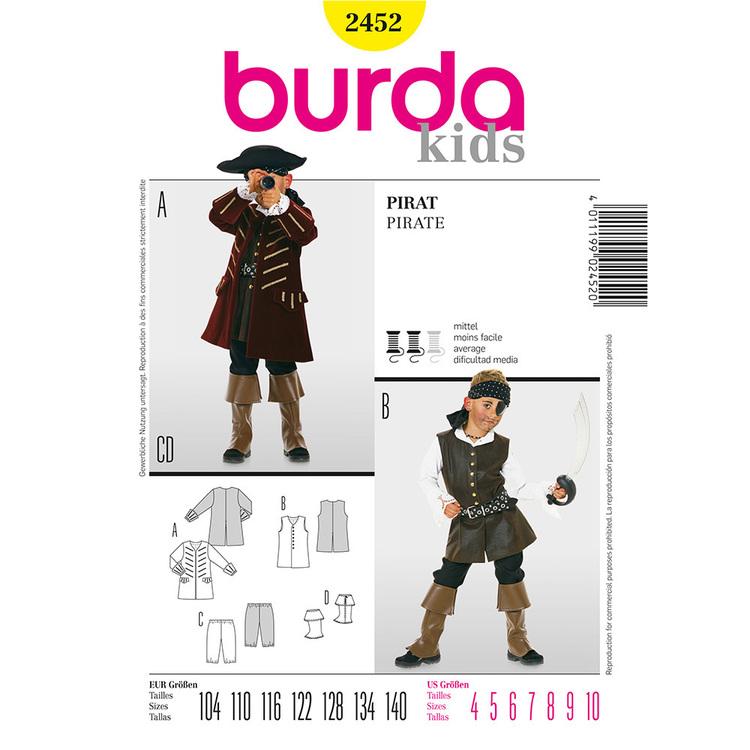 Burda Pattern 2452 Kids Pirate Costume