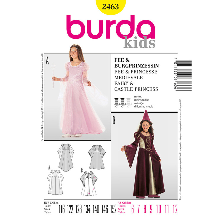 Burda 2463 Fairy & Castle Princess Kids Costume  6 - 12