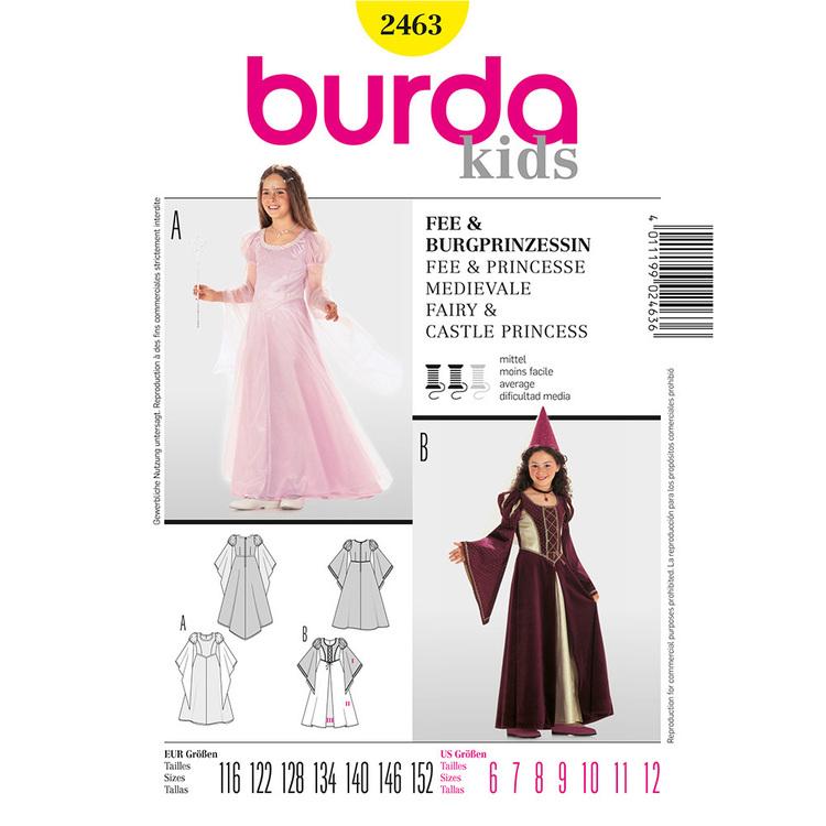 Burda Pattern 2463 Fairy & Castle Princess Kids Costume