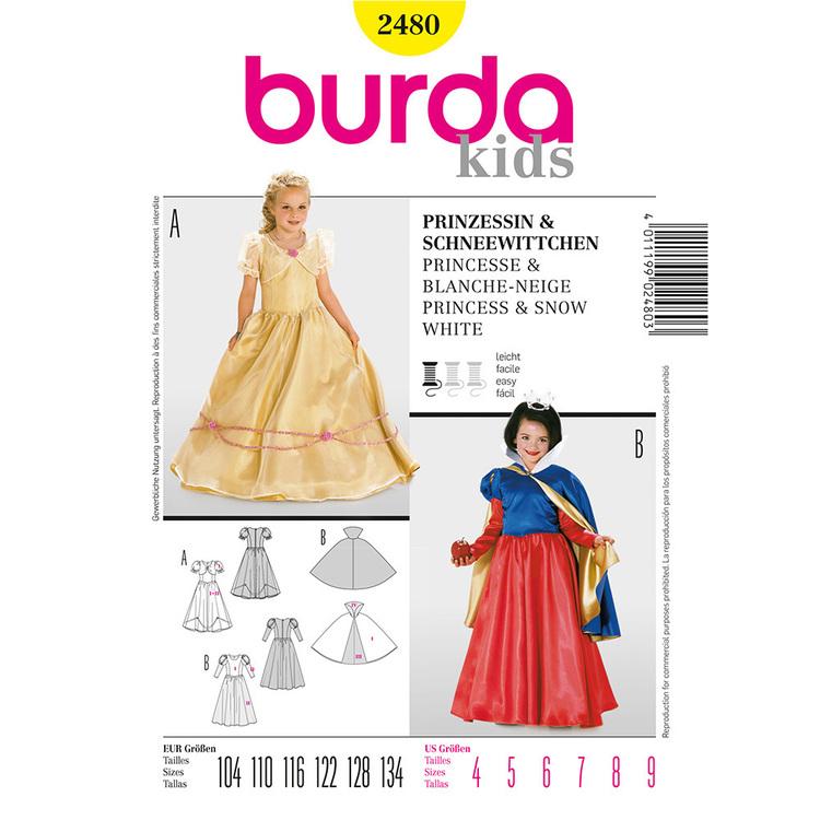 Burda Pattern 2480 Kids Princess & Snow Costume