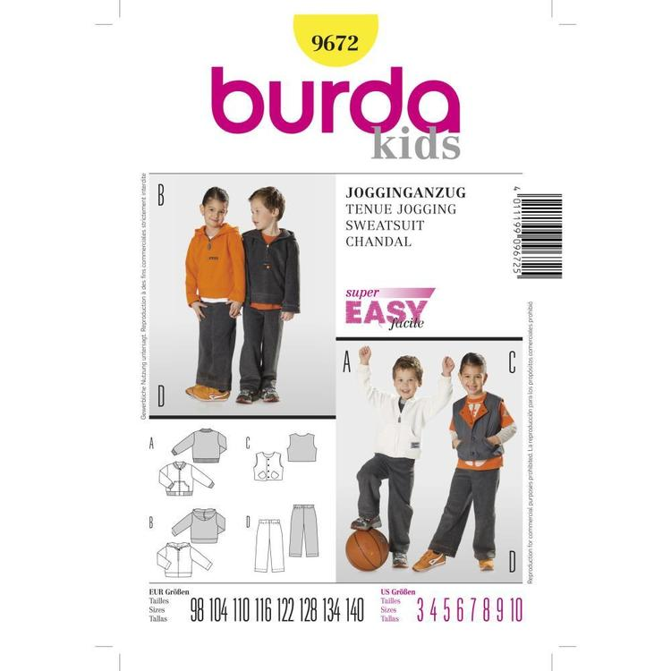 Burda Pattern 9672 Boy's Sweatsuit