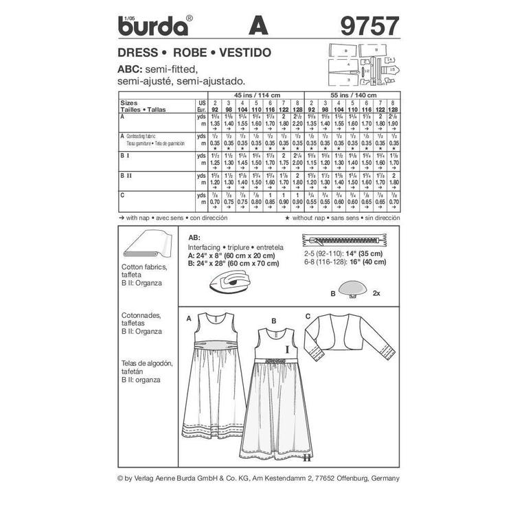 Burda 9757 Girl's Evening Wear  2 - 8