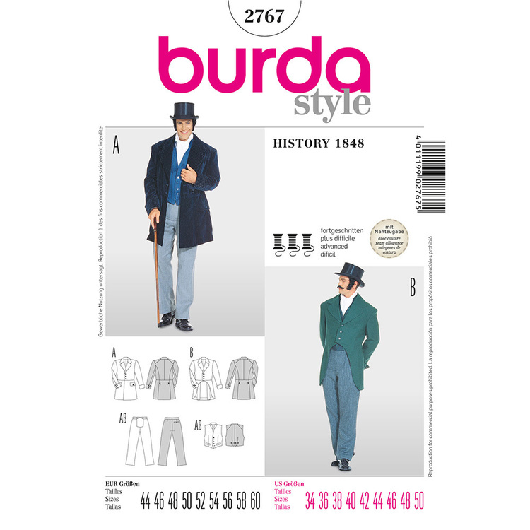 Burda Pattern 2767 Men's Jacket
