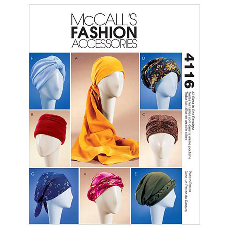 McCall's Pattern M4116 Misses' Turban Headwrap & Caps