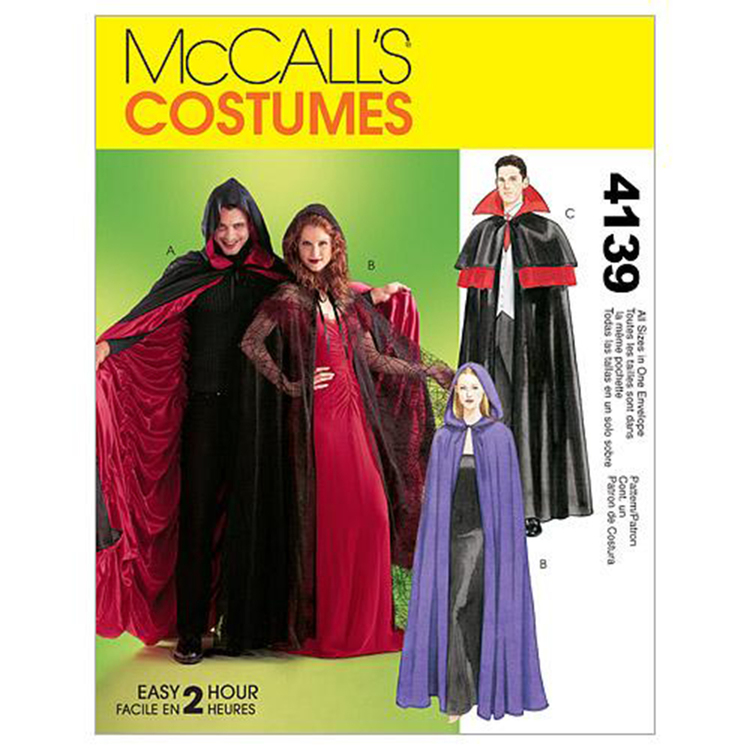 McCall'sM4139 Teens' Lined & Unlined Cape Costumes One Size