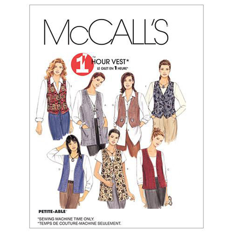 McCall's Pattern M2260 Misses' Unlined Vests In Two Lengths
