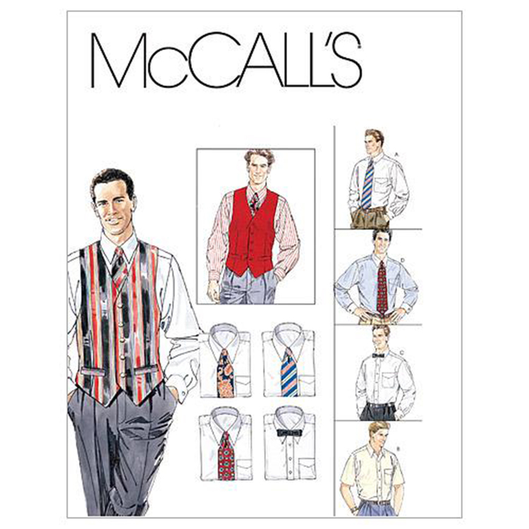 McCall's Pattern M2447 Men's Lined Vest Shirt Tie In Two Lengths & Bow Tie