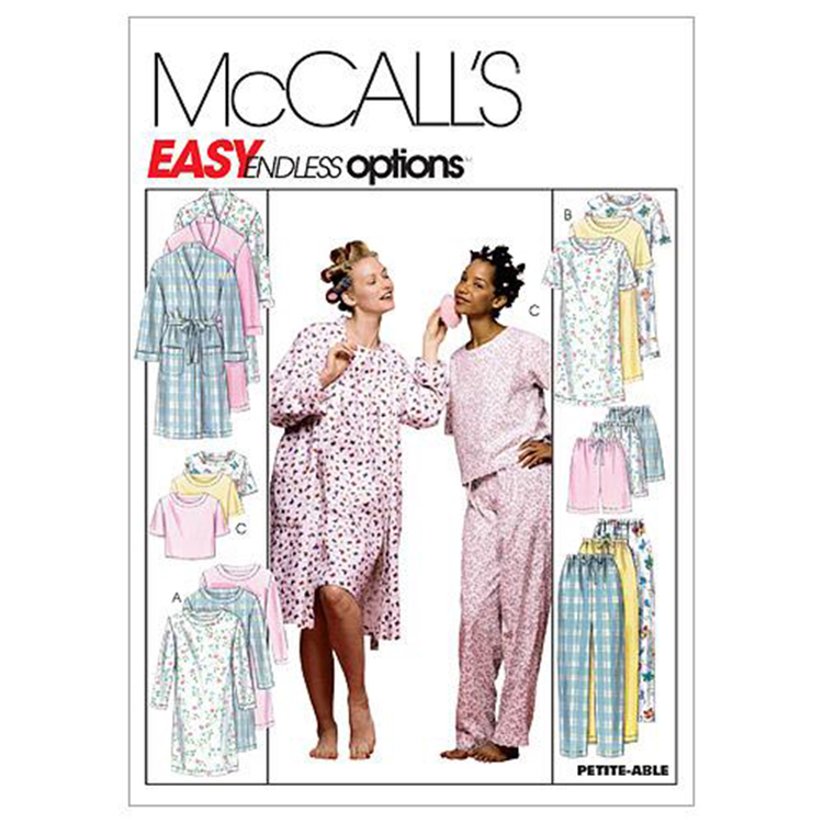 McCall's Pattern M2476 Misses' Robe Nightgown Or Top & Pull-On Pants Or Shorts