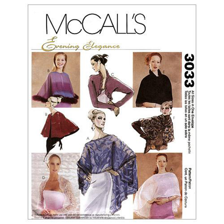 McCall's Pattern M3033 Misses' Evening Cover-Ups