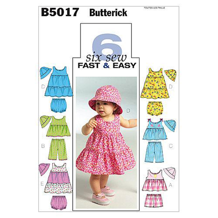 Butterick Pattern B5017 Infants' Top Dress Panties Shorts Pants & Hat