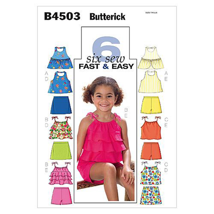 Butterick Pattern B4503 Girls' Top Skort & Shorts