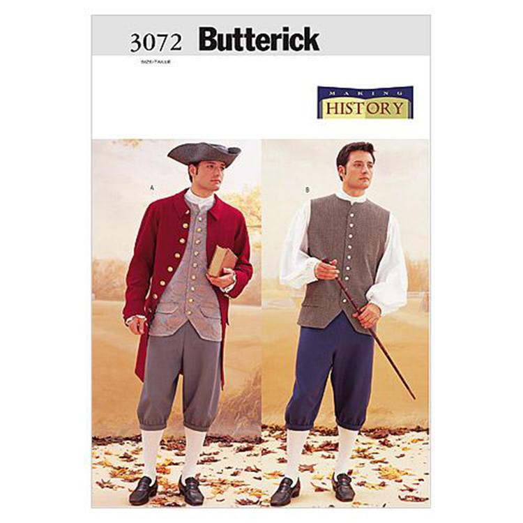 Butterick Pattern B3072 Historical Costume Coat Vest Shirt Pants & Hat