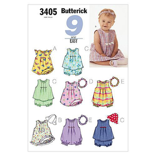 Butterick B3405 Infants' Dress Top Romper Panties Hat & Headband