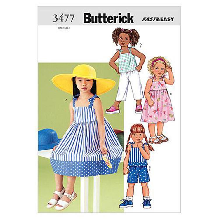 Butterick Pattern B3477 Children's Dress Top Short & Pants