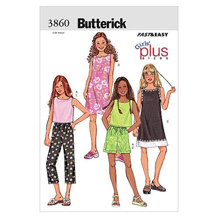Butterick Pattern B3860 Girls' Plus Top Dress Shorts & Pants