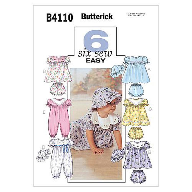 Butterick Pattern B4110 Infants' Dress Panties Jumpsuit & Hat
