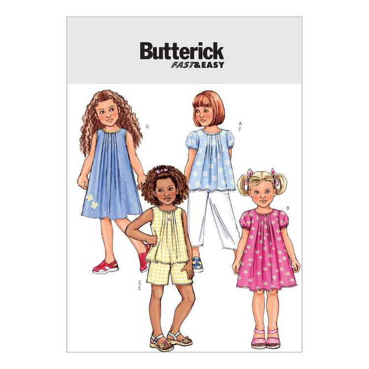 Butterick Pattern B4176 Girls' Top Dress Shorts & Pants
