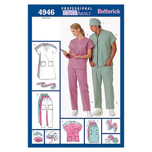 Butterick B4946 Unisex Uniforms - Dress Belt Top Skirt Pants Hat & Ponytail Holder
