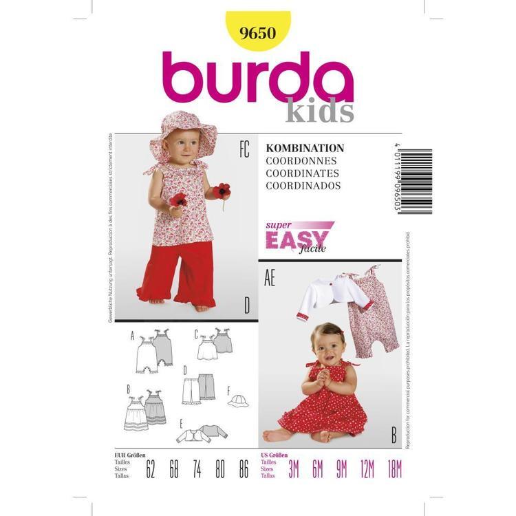 Burda Pattern 9650 Baby Coordinates