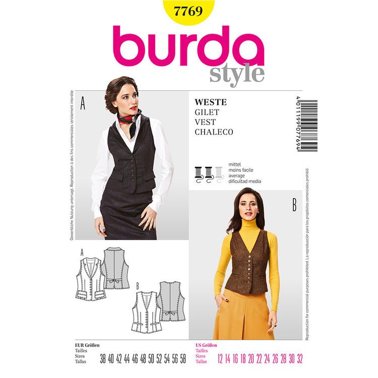 Burda Pattern 7769 Women's Vest