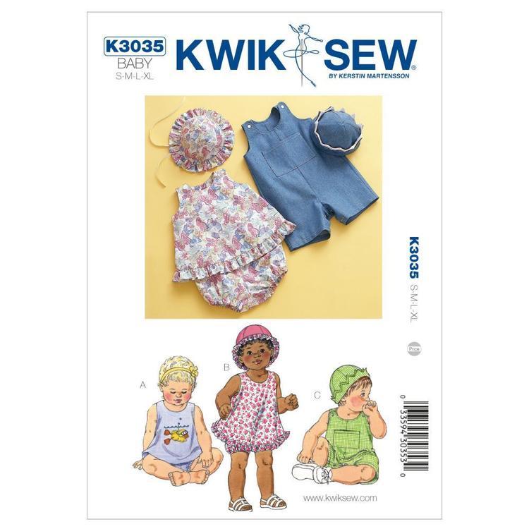 Kwik Sew Pattern K3035 Sundress Bloomers Shortalls & Hats