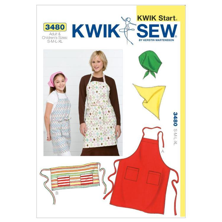 Kwik Sew Pattern K3480 Aprons & Scarf