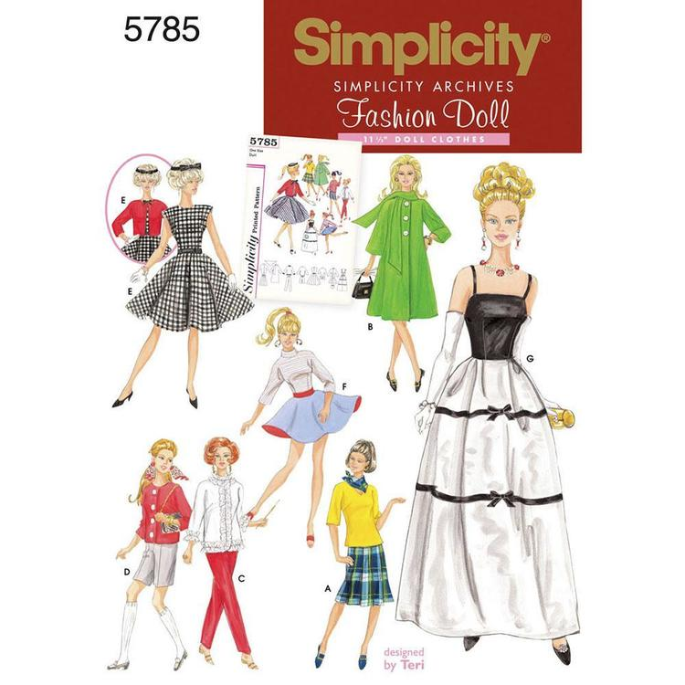 Simplicity Pattern Vintage 5785 Dolls Clothes