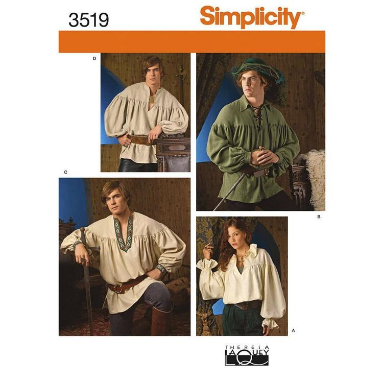 Simplicity 3519 Unisex Costumes  X Small - X Large